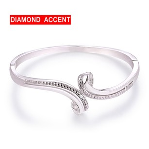 Other 18K White Gold Plated and 0.10CTTW Diamond Accent Bypass Bangle
