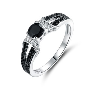 Other 18K White Gold Plated Black Onyx & CZ Ring #4628