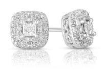 Other 18K White Gold Plated Diamond Accent Princess Cut Stud Earrings #6709