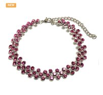 Other 18K White Gold plated ZigZag Pink Austrian Crystal Choker