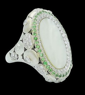 18k White Gold Tcw Vs G Diamond Peridot Mother Of Pearl Ring R768