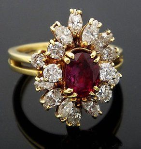 18k Yellow Gold 2.75ct Diamond Ruby Cluster Ring Vs Ij R79
