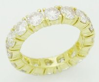 Other 18k Yellow Gold 3.20 Carats Tcw Round Diamond Eternity Band Ring R387