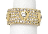 Other 18k Yellow Gold 3.5ctw Diamond Heart Design Wide Band Ring