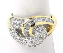 18k Yellow Gold 3ctw Baguette Round Cut Diamond Love Knot Ladies Ring