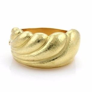 18k Yellow Gold Hand Hammered Wave Design Wide Bangle Bracelet 1.5 Wide
