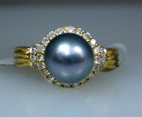 18k Yellow Gold Ladies Tahitian Pearl Diamond Ring 5.75
