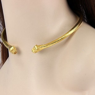 18k Yellow Gold Llias Lalaounis Fancy Hammered Collar Necklace
