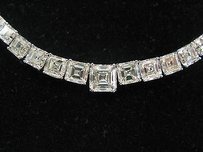 18kt Asscher Cut Diamond Riviera White Gold Necklace 17 26.25ct H-ivvs2-vs1