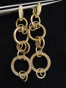 18kt Circular Drop Diamond Yellow Gold Designer Earrings .50ct 2.5