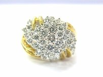 18kt Diamond Cluster Flower Jewelry Ring Yellow Gold 2.12ct