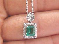 18kt Gem Green Emerald Diamond White Gold Pendant Necklace 16 1.85ct Aaa