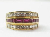 18kt Gem Ruby Diamond Jewelry Ring Yg 2.52ct