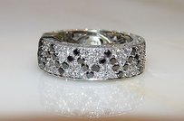 18kt Gold White Black Diamond Eternity Wedding Band Engagement Ring 4.00cts.