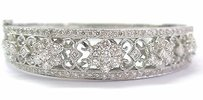 18kt Multi Shape Flower Diamond Bangle Bracelet White Gold 4.35ct E-f