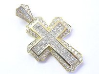 18kt Princess Round Cut Diamond Yellow Gold Invisible Set Cross Pendant 6.65ct