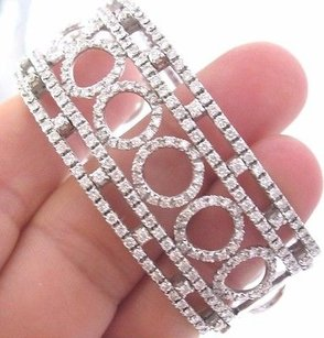 Other 18kt Round Brilliant Diamond Circular Wide White Gold Cuff Bracelet 3.52ct