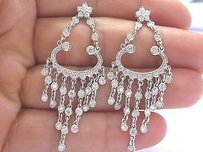18kt Round Cut Diamond Bezel Set Chandelier Earrings White Gold 3.26ct E-vvs2