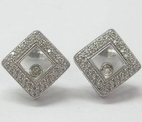 18kt Square Floating Diamond Pave Earrings Wg .60ct