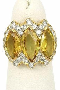 Other 18kt Ygold 9.40ctw Marquise Round Cut Diamond Yellow Sapphire Cluster Ring