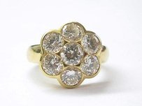 18kt Circular Diamond Flower Ring Yg 2.90ct F-vvs2