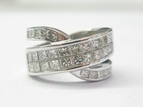 18kt Criss Cross Princess Cut Diamond Designer Ring 4.16ct