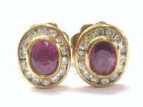 18kt Gem Ruby Diamond Halo Earrings Yg 1.05ct