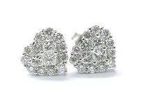 Other 18kt Heart Shape Diamond Invisible Setting White Gold Stud Earrings 1.06ct