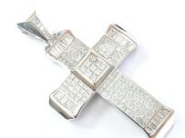 18kt Princess Baguette Diamond White Gold Religious Cross Pendant 14.03ct