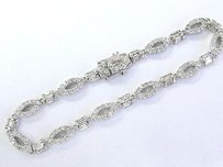 Other 18kt Round Baguette Diamond White Gold Tennis Bracelet 2.55ct