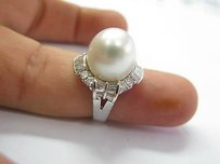 18kt South Sea Pearl Diamond Jewelry Ring 1.46ct 13mm