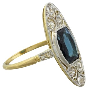 1920s Antique Art Deco Estate 18k Solid Yellow Gold .55ctw Diamond Sapphire Ring