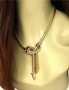 1930s Vintage 14k Yellow Gold .65ctw Diamond Lariat Bone Link Necklace