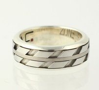 Mens Zone Wedding Band - Sterling Silver 950 Stainless Steel Titanium Ring
