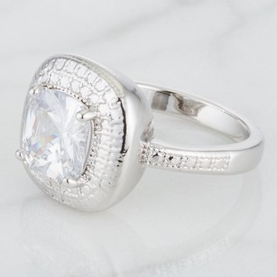 Platinum Plated Classic Engagement Ring With Cushion Cut Cubic Zirconi