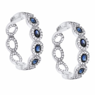 Other 2.12ct Sapphire 14k White Gold And Diamond Hoop Earrings