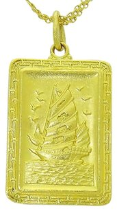 24k Yellow Gold Chinese Sailboat The Bright Future Pendant N384