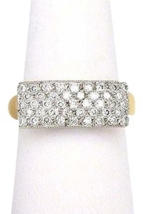 18k Two Colors Gold 1.50ct Diamond Rectangular Top Ring- 8169M