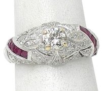 Estate 18k Two Tone Gold Diamond Solitaire Accents Rubies Ring