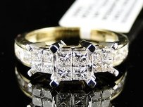 14k Yg Ladies 3 Stone Princess Cut Diamond Ring 1.20 Ct