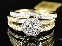 Womens Yellow Gold Round Cut Diamond Engagement Bridal Wedding Ring Set 12 Ct