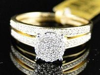 10k Yellow Gold Ladies Womens Round Cut Diamond Wedding Engagement Bridal Ring