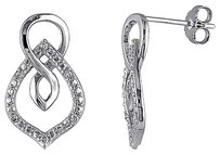 Other Sterling Silver Diamond Swivel Interlocking Infinity Stud Earrings Hij I3