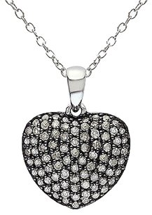Other Sterling Silver 12 Ct Diamond Tw Heart Love Pendant Necklace I3
