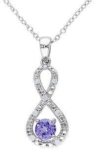 Other Sterling Silver Tanzanite And 110 Ct Diamond Crossover Swivel Infinity Necklace