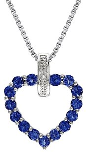 Other Sterling Silver Diamond And 1 13 Ct Blue Sapphire Heart Love Pendant Necklace