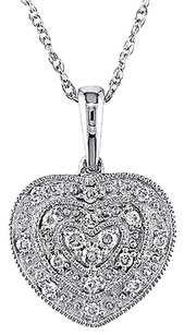 Other 10k White Gold 18 Ct Diamond Tw Heart Love Pendant Necklace Gh I2i3