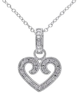 Sterling Silver 16 Ct Diamond Tw Heart Love Pendant Necklace Gh I2i3