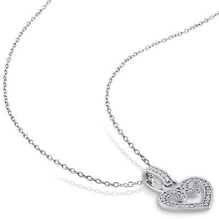 Other Sterling Silver 16 Ct Diamond Tw Heart Love Pendant Necklace Gh I2i3