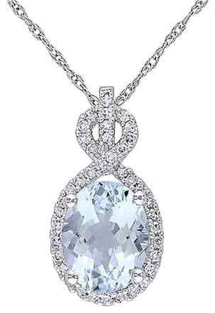 Other 10k White Gold 16 Ct Diamond And Aquamarine Pendant Necklace Gh I1i2